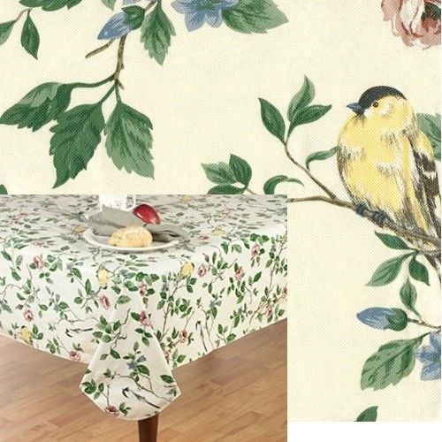 70 Inch Round Tablecloth Tablecloth Leaves Bird Indoor Outdoor Vinyl Spill Proof Elrene