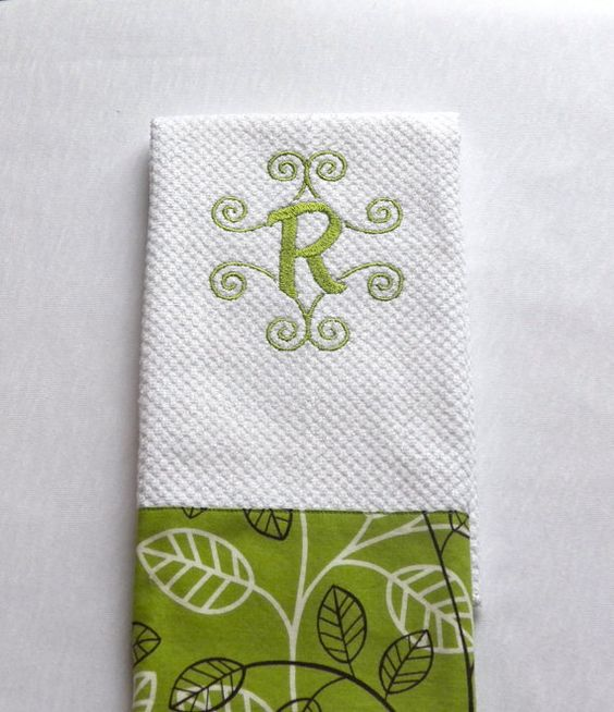 Monogrammed Kitchen Towel Embroidered Dish Towel Pick A Green Fabric Kitchen Towels Towels