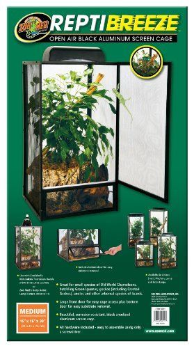 Zoo Med ReptiBreeze Open Air Screen Cage, Medium, 16 x 16 x 30-Inches by Zoo Med// I think this would be perfect for the crestie