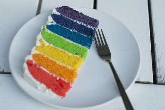 Kake i alle regnbuens farger