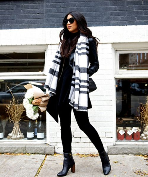 justthedesign:  Kayla Seah's oversized black and white scarf looks great worn with a leather coat and skinny jeans. Jacket: Sezane, Top: Cmeo Collective, Jeans: AG, Scarf: Banana Republic, Boots: Ted Baker, Bag: Chloe.