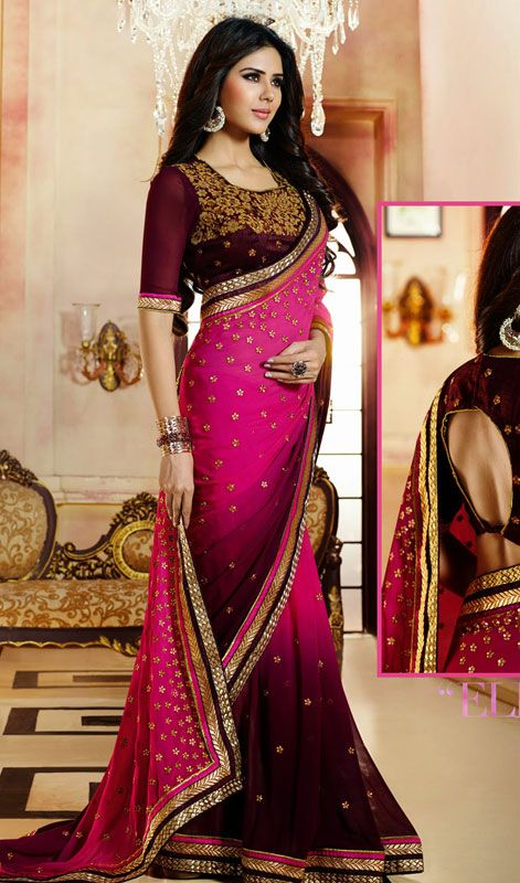 Magenta and Wine Embroidered Georgette Saree.