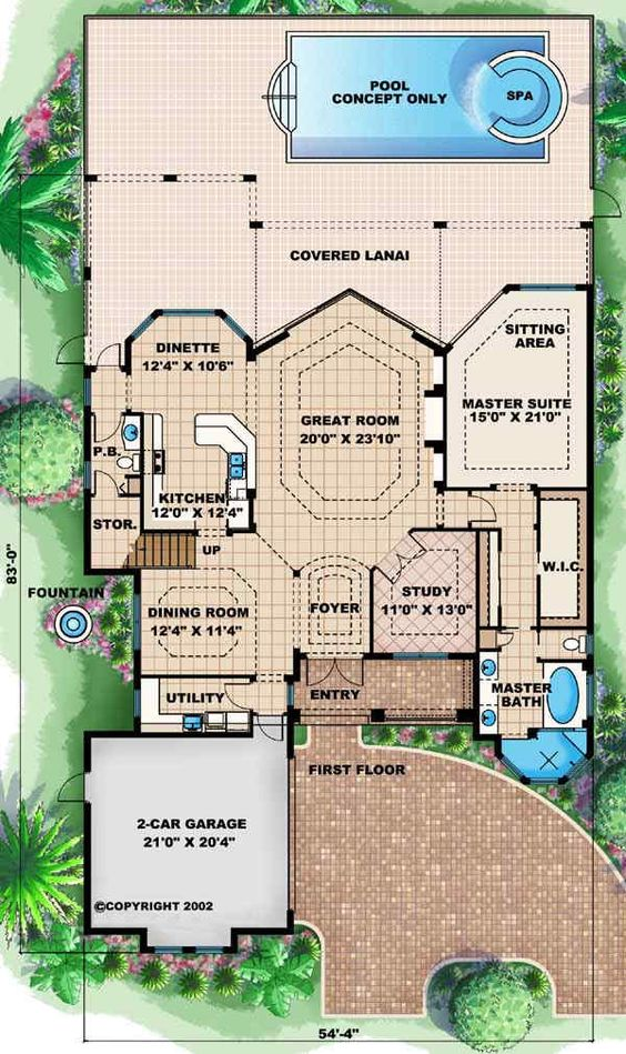 Florida Style House Plans 2931 Square Foot Home 2 Story