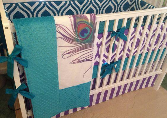 Deposit Baby Girl Crib Bedding Set Teal Purple Mint