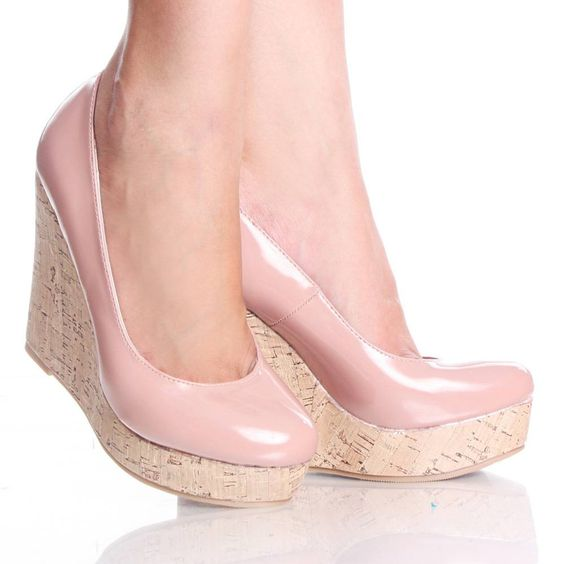 Light Pink Patent Cork Platform Wedge Heel Dress Pump Womens Shoes