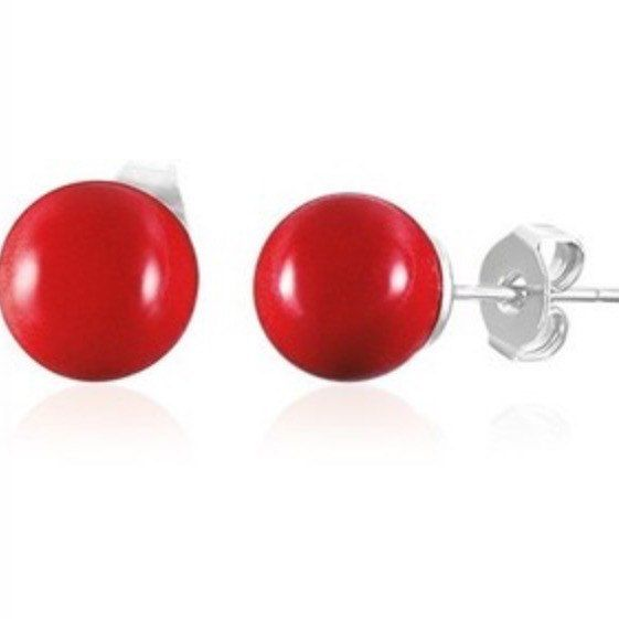 Red ball Stud Earrings Surgical Steel posts by JanineMarieJewelry