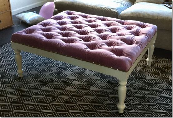 DIY hit up a yard sale for an old, funky coffee table and add tuft to top!   Also great complete instructions for an old headboard and footboard, bench.