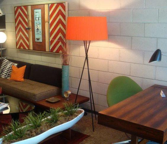 Orange and green scheme mid century modern.