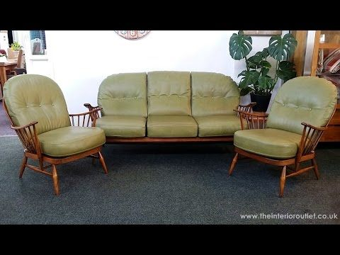 Vintage Ercol Windsor Sofa 2 Windsor Armchairs Upholstered In Green Leather Retro Style Sofas Sofa Clearance Sofa Outlet