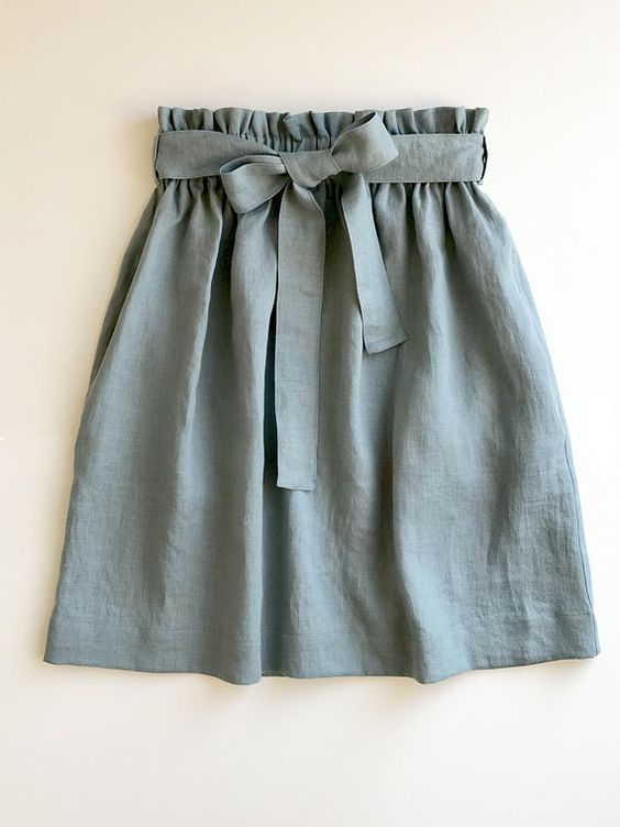 Linen skirt MIDI grey blue, duck egg color-skirt tie ribbon belt deep pockets-comfortable skirt wide elastic waistband-prewashed linen skirt