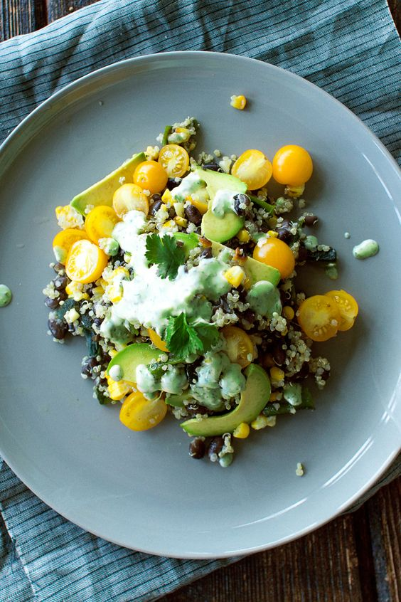 grilled corn, black beans, and quinoa with cilantro lime ...