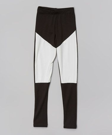Another great find on #zulily! Black & White Color Block Straight-Leg Pants #zulilyfinds