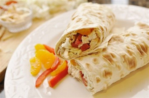 Asian Chicken Wraps.  Next time I will use a different kind of bread.  We thought the flat bread was too dry and didn't roll easily.  Good flavor.