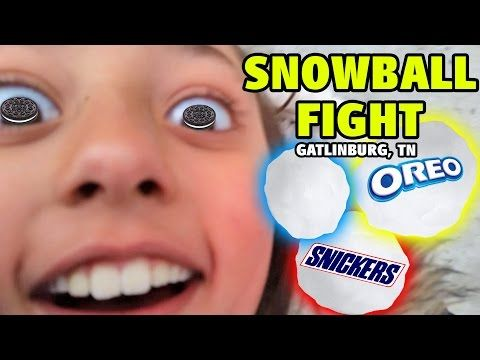 SNOW BALL FIGHT! (Try to hit Dad) + Deep Fried Oreos & Snickers! (Gatlinburg, TN Family Vlog) - YouTube