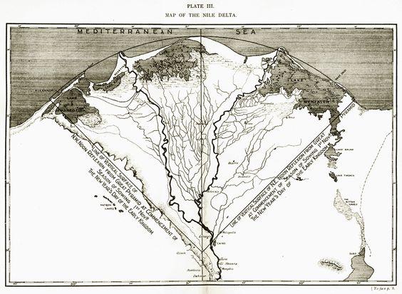 Delta del Nilo y situación de las Pirámides de Gizeh
