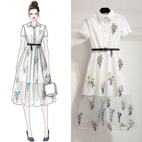 Baju Korea Dress Motif