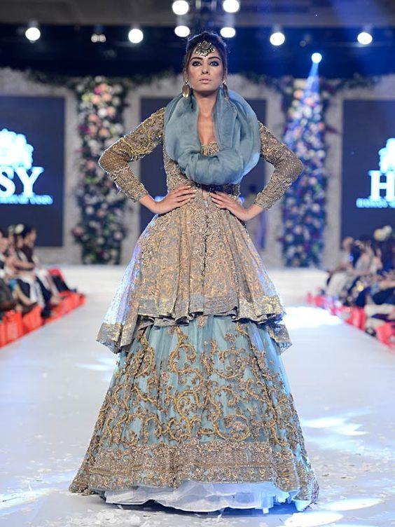Pakistani Designer Walima Dresses 2017 in aqua blue color ...