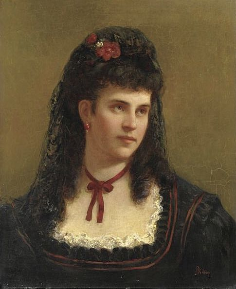 Francesco Didioni Fashion Painting 1870s Fashion Statement Necklace