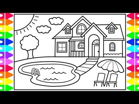 How To Draw A House With A Pool For Kids House With Pool