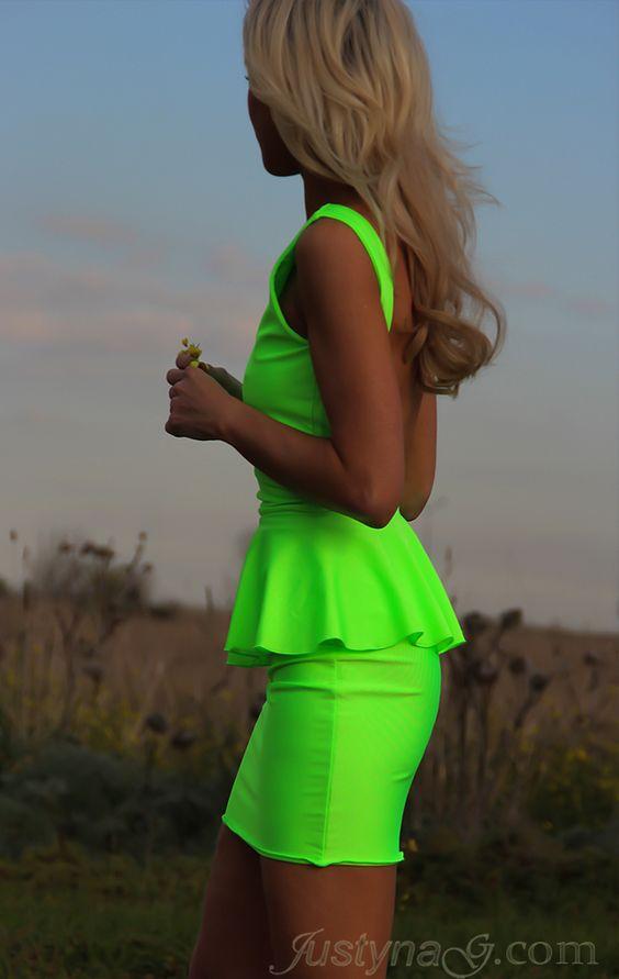 Neon green peplum dress