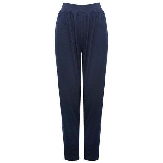 M&Co Navy Harem Trousers (33 CAD) ❤ liked on Polyvore featuring pants, navy, elastic waistband pants, harem pants, navy blue trousers, navy pants and harem trousers