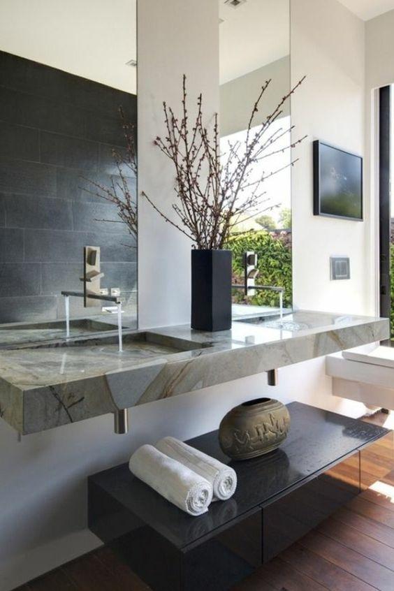 salle de bain zen lavabo en marbre blanc miroir grand design mural sol - Grand Lavabo Salle De Bain