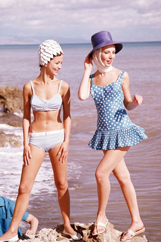 This 1940's polka dot swimsuit is just another example of how popular polka dots have become in recent history. They weren't always popular! Read more about the history of polka dots here.