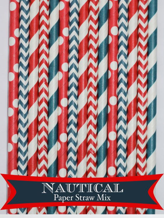 50 Nautical Paper Straw Mix PAPER STRAWS by PartyDelights