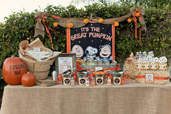 Charlie Brown Great Pumpkin Party with TONS of Ideas via KarasPartyIdeas.com: The Popcorn Bar