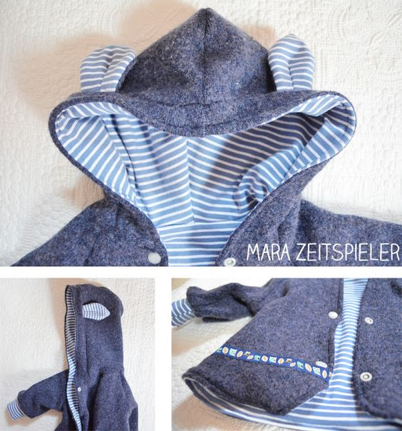 Kinderjacke aus altem Wollpullover / Men's woollen jumper as jacket for children