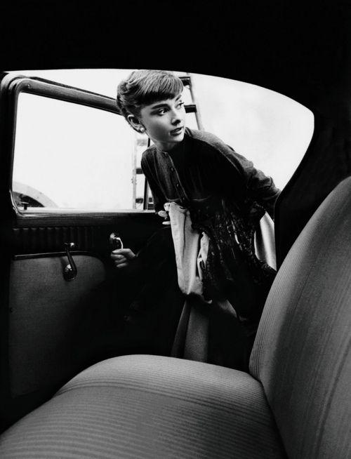 Audrey getting in car