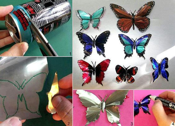 How to make your own aluminum butterflies to use as decor or magnets. Picture directions only. #crafts #diy #fun #kids