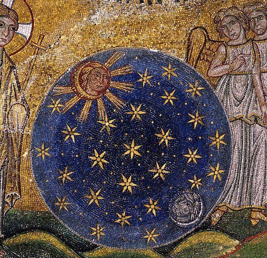 Création de corps célestes.  (Création du Monde, fragment) Basilique Saint-Marc, Venise, Italie.  13ème siècle.