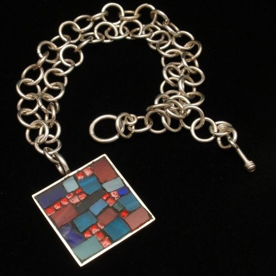 Mosaic Necklace Artisan Made Sterling Silver | eBay