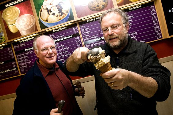 American ice cream makers Ben Cohen and Jerry Greenfield, founders of the brand, Ben & Jerry's. (Getty Images/Ade Johnson/AFP)