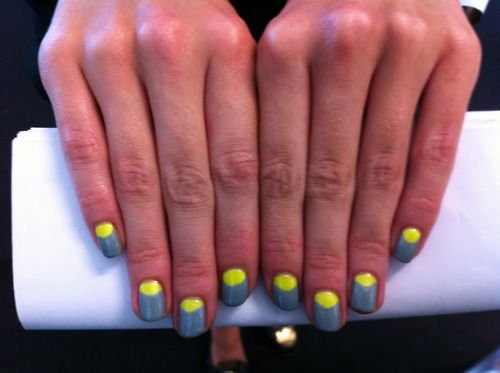 Slate grey and neon yellow nails, spotted backstage at Christopher Kane's SS13 #lfw show