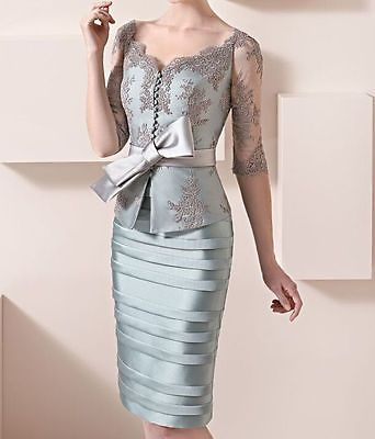 Lace Mother Of the Bride Dresses Knee Length Wedding Guest Gowns With Jacket