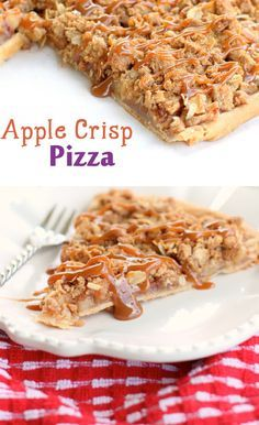 Apple Crisp Pizza recipe!!! Yum! A cross between an apple pie and pizza! And so easy to make!
