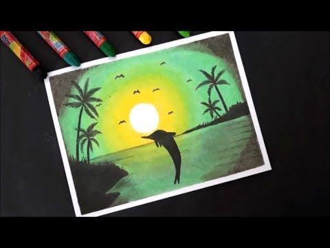 Pastel Boya Ile Manzara Resmi Cizimi How To Draw Scenery Green Light With Oil Pastel Step By Step Youtube Oil Pastel Pastel Drawings