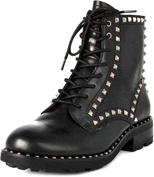 Ash Wolf Biker Boots Black Leather