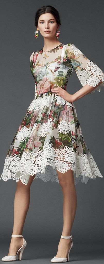 Gorgeous, girly dress!  Dolce  Gabbana F/W 2014 Women's designer fall fashion clothing outfit:
