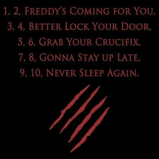 Nursery Rhyme From A Nightmare On Elm Street A Nightmare On Elm Street Funny Horror Nightmare On Elm Street