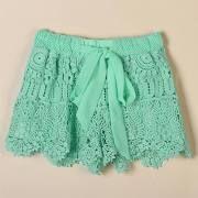 Lace Chiffon Elastic Waist Hem Crochet Drawstring Shorts - XL Green