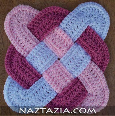 Crochet weaved hotpad potholder
