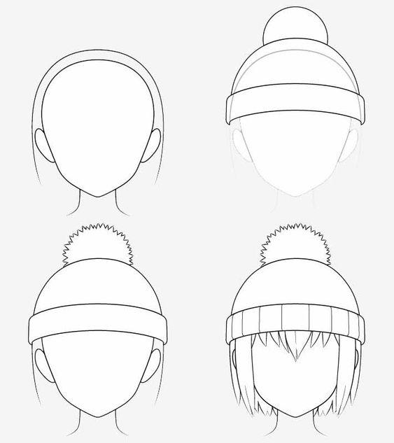 Từng bước vẽ nón len anime