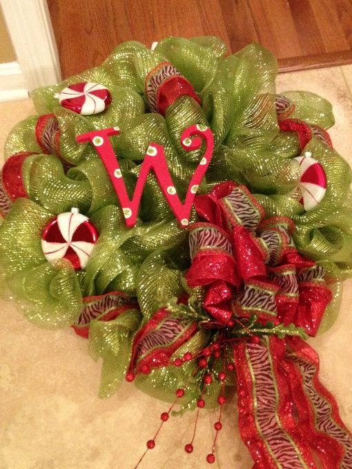 Christmas wreath this ribbon can be purchased at sam 39 s for Alphabet christmas wreath