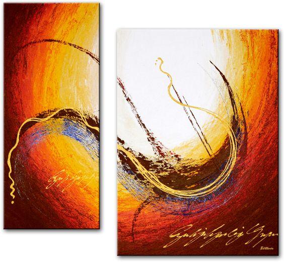 Tweeluik schilderij met een afbeelding van een zon in abstracte vorm geschilderd let eens op de - Afbeelding van huisdecoratie ...