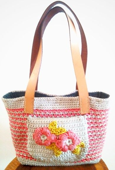 Crochet handbag w/leather straps (featured on Etsy)