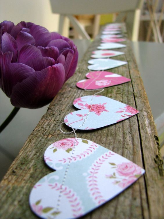 Paper Hearts Garland pretty colours and Shabby Chic Roses