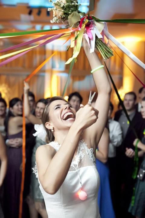 Bouquet toss alternative - last one with a ribbon attached wins.
